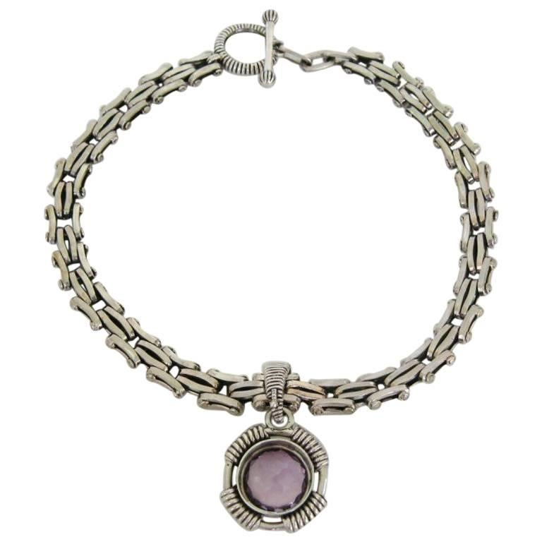 Stephen Dweck Amethyst Sterling Silver Amethyst  Necklace 1990s never worn  1