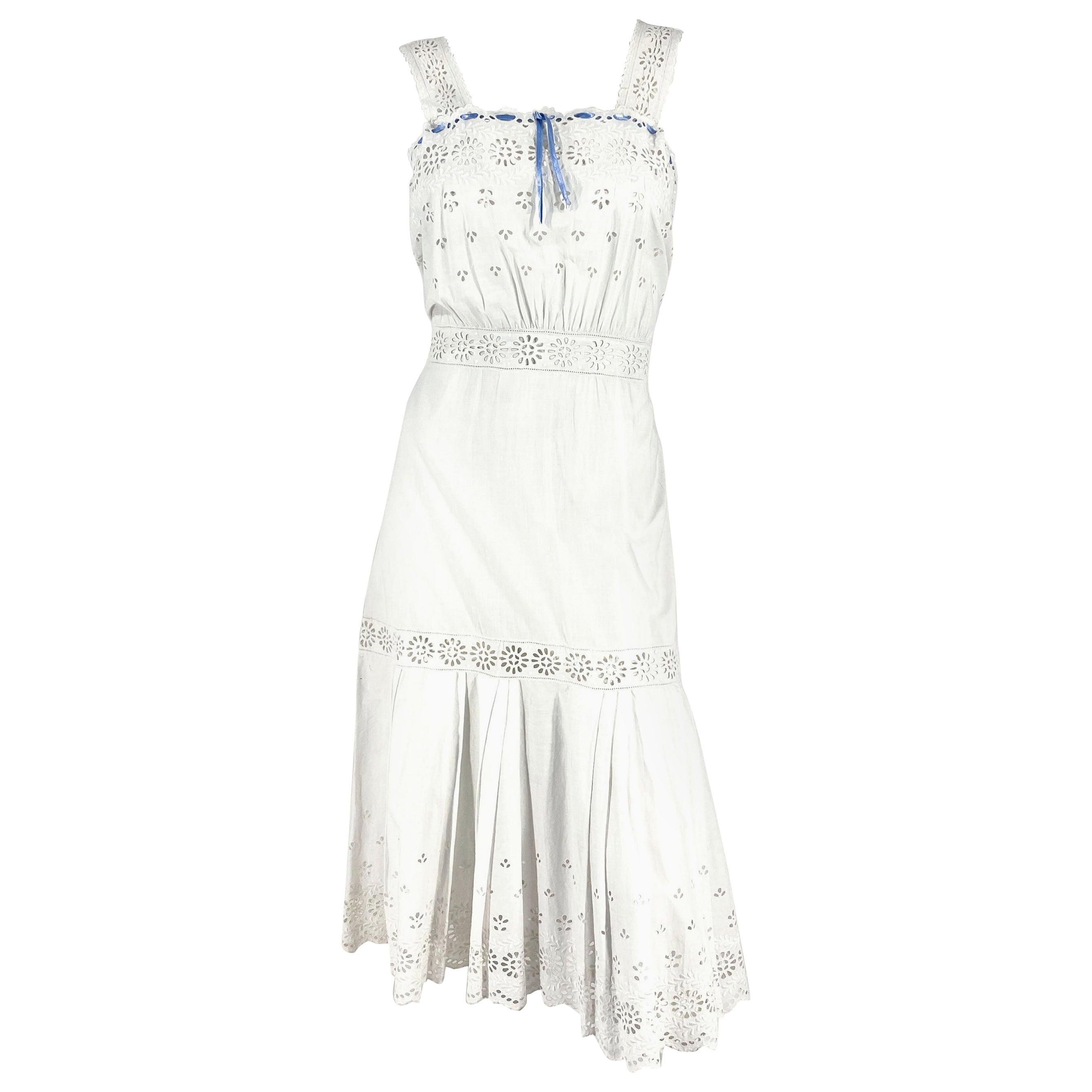 1900s Edwardian White Cotton Petticoat/Dress