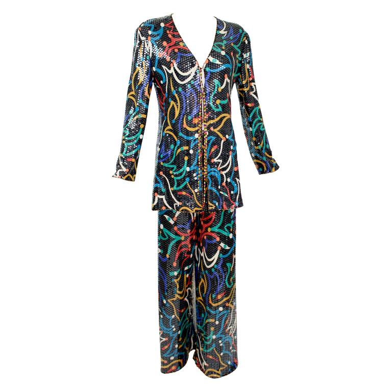 Missoni Vintage  Shimmery Silk Jersey Colorful Print Clear Sequin Pant Suit