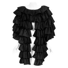 Vintage 1990's Oscar de la Renta Black Silk Tiered-Ruffle Short Sleeve Jacket