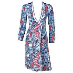 1974 Ossie Clark Colorful Celia Birtwell Print Cotton Low-Plunge Wrap Dress