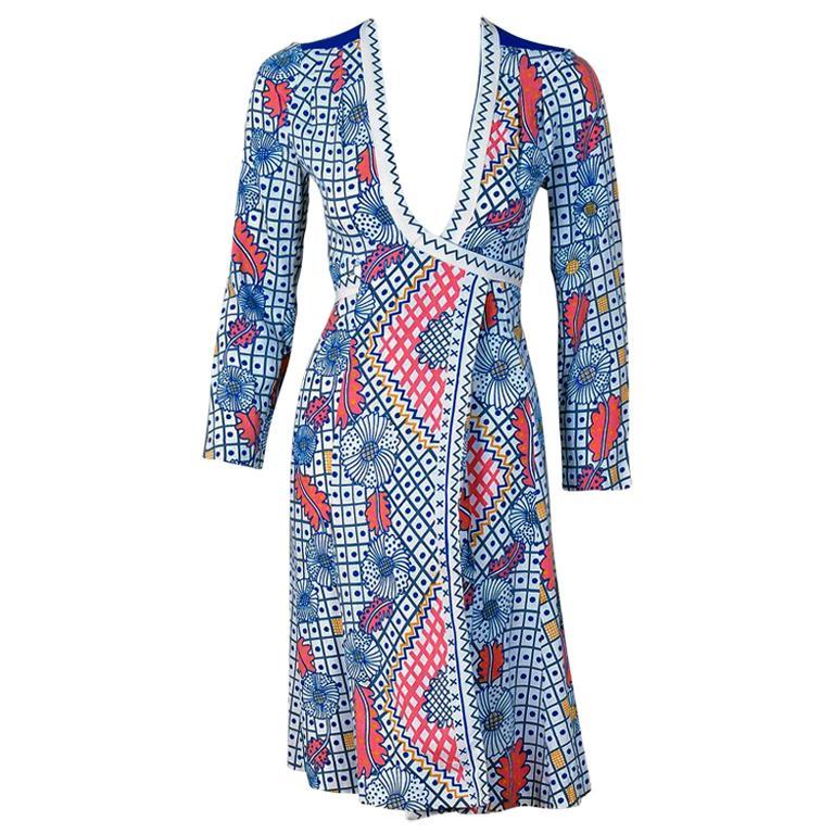 1974 Ossie Clark Colorful Celia Birtwell Print Cotton Low-Plunge Wrap Dress For Sale
