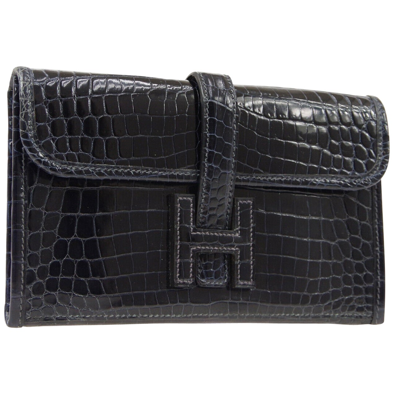 Hermes Crocodile Exotic Leather 'H' Logo  Evening Wallet Clutch Flap Bag in Box
