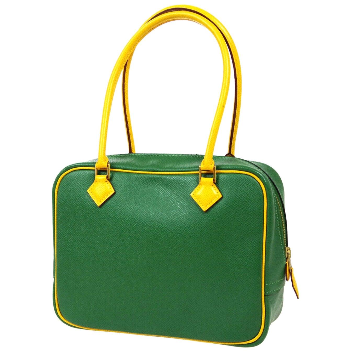 Hermes Green Yellow Leather Gold Evening Top Handle Satchel Bag