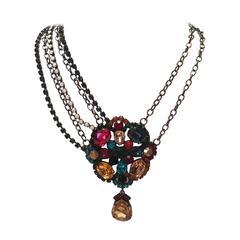 Kenneth J Lane KJL  Multi-colored Rhinestone Necklace