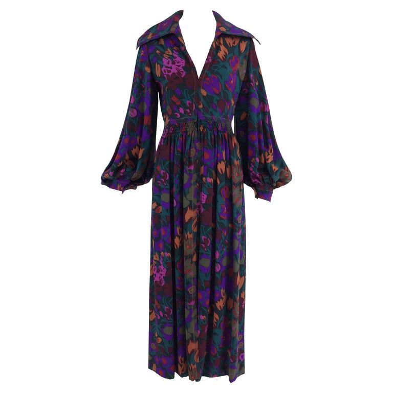 James Galanos for Ameila Gray silk crepe floral hostess maxi dress 1970s