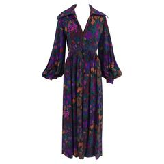 James Galanos for Ameila Gray silk crepe floral hostess maxi dress 1970s