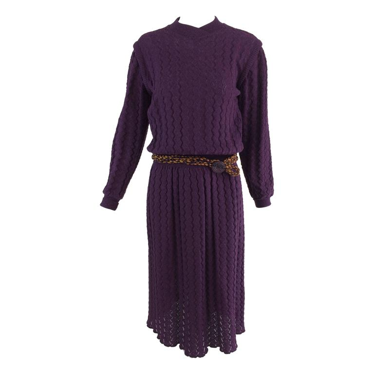 Missoni plum cable kint long sleeve dress & braided belt