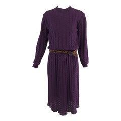 Missoni plum cable kint long sleeve dress & braided belt