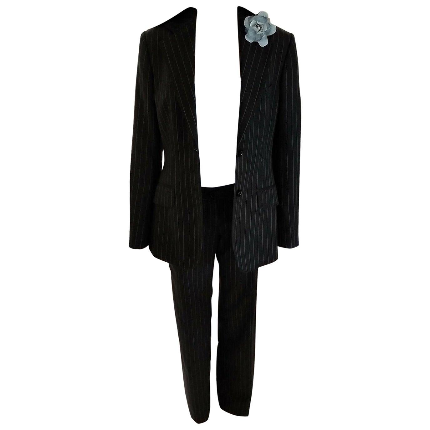 Dolce & Gabbana Charcoal Black & Sky Blue Pinstripe Jacket Pant Suit IT 40/ US 4