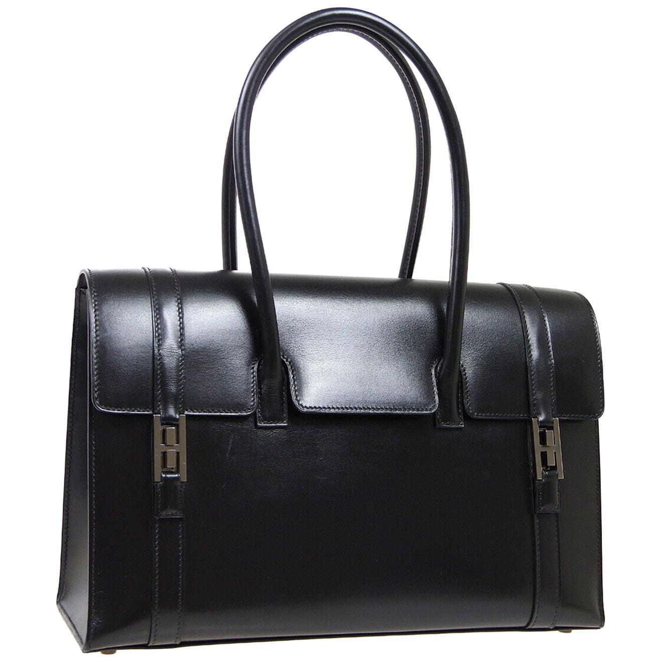 Hermes Black Leather Palladium Saddle Carryall Top Handle Satchel Kelly Flap Bag