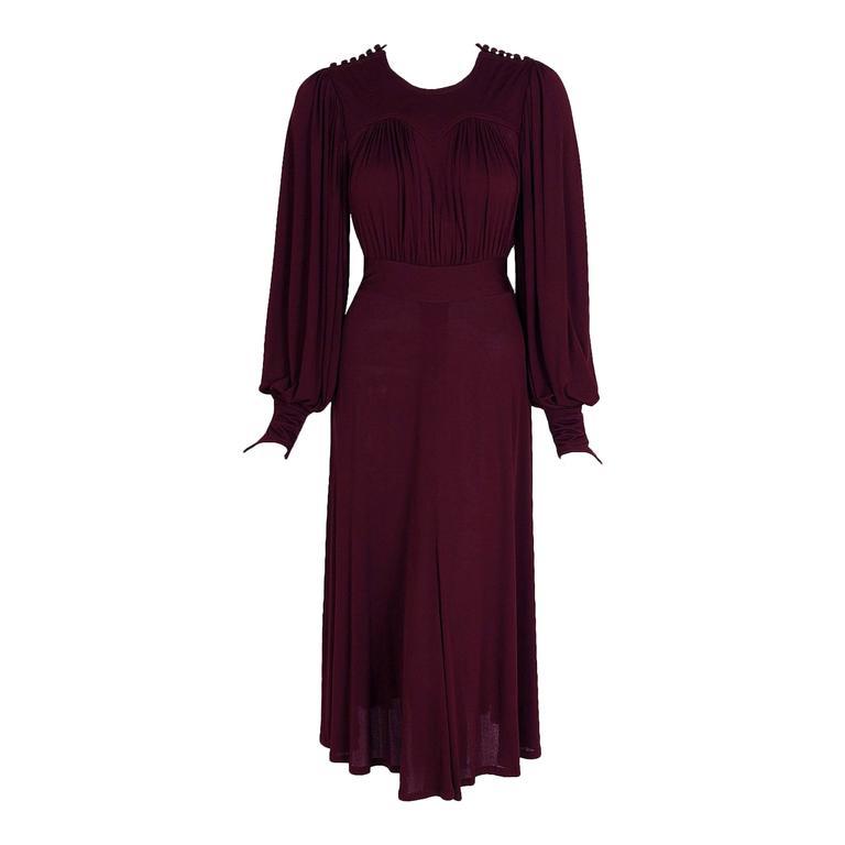 1969 Ossie Clark for Quorum Plum Purple Ruched Silk Jersey Billow-Sleeve Dress 1