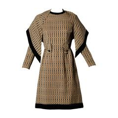 Adele Simpson Vintage 1960s Geometric Wool Dress + Scarf Set 2-Piece Ensemble