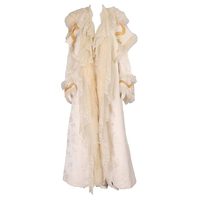 Victorian Gold Dragon Embroidered Silk, Lace and Curly Lamb Evening Coat  1