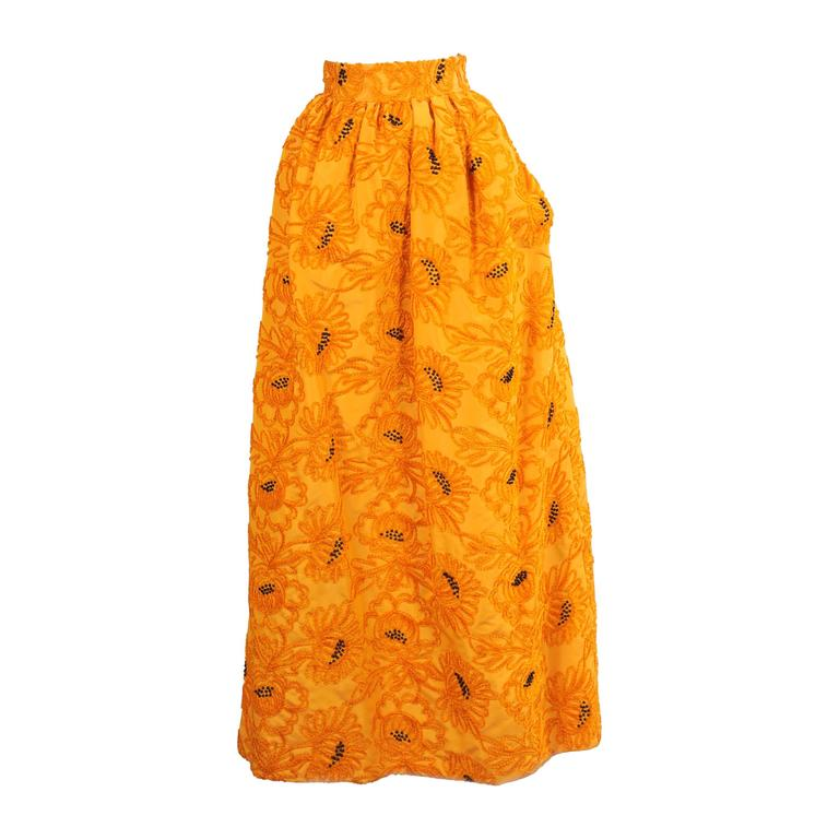 Givenchy Haute Couture Marigold Hand Embroidered and Beaded Silk Evening Skirt For Sale