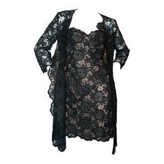 Oscar de la Renta 1990's Vintage Black Lace Soutache Dress & Coat - M