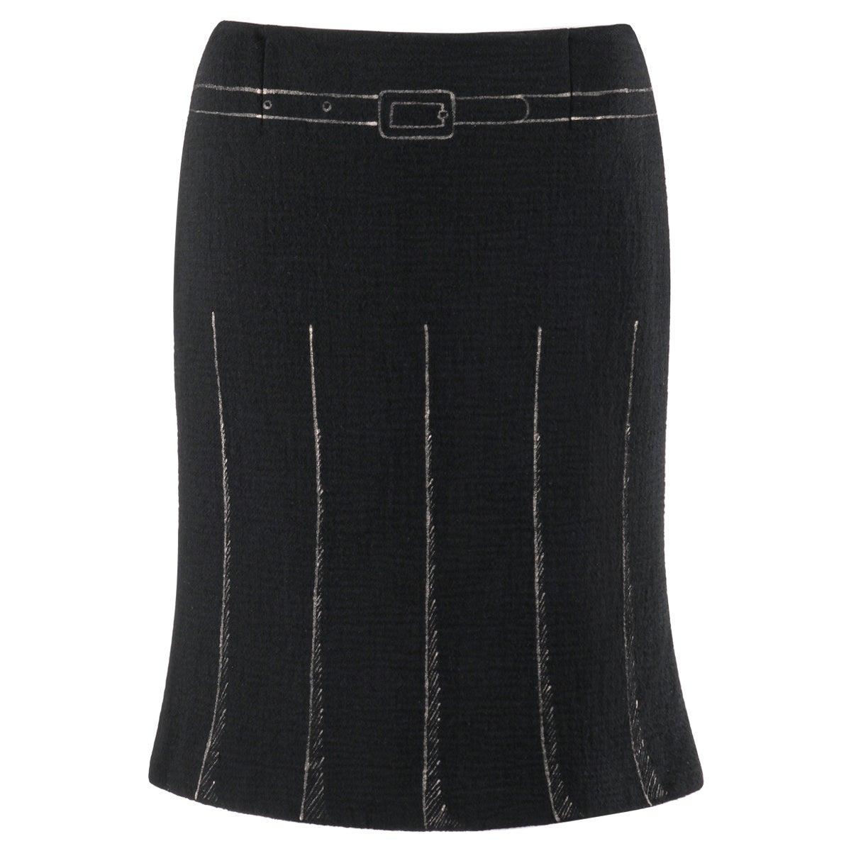MOSCHINO c. 1990's Trompe L'oeil Black Metallic Belt Pleated Print Sheath Skirt