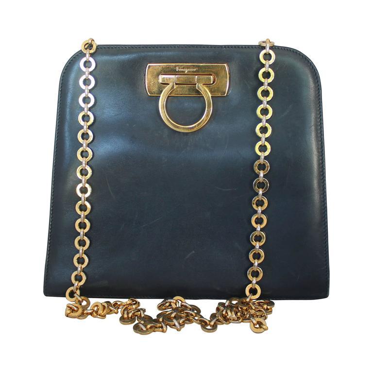 Ferragamo Navy Leather Square Clutch/Cross Body Bag - GHW - Circa 80's For Sale