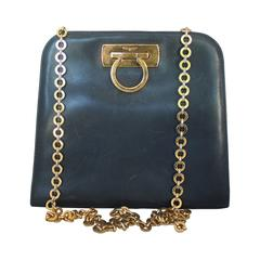 Ferragamo Navy Leather Square Clutch/Cross Body Bag - GHW - Circa 80's