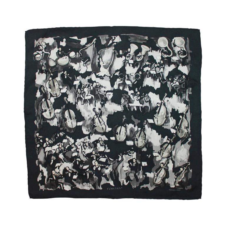 "Hermes Black and White ""Concerto"" Pocket Square Silk Scarf 1"