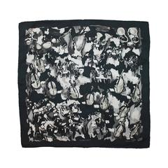 "Hermes Black and White ""Concerto"" Pocket Square Silk Scarf"