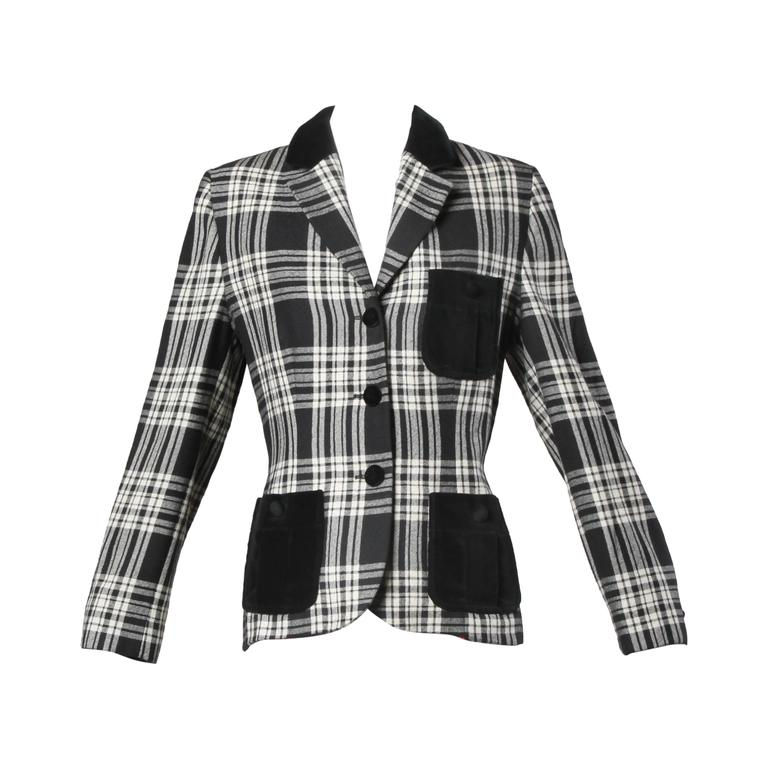 Moschino Vintage Black + White Wool Plaid Blazer Jacket For Sale
