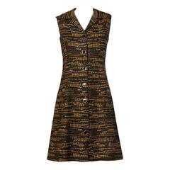 Adele Simpson 1960s Vintage Woven Wool Shift Dress or Vest