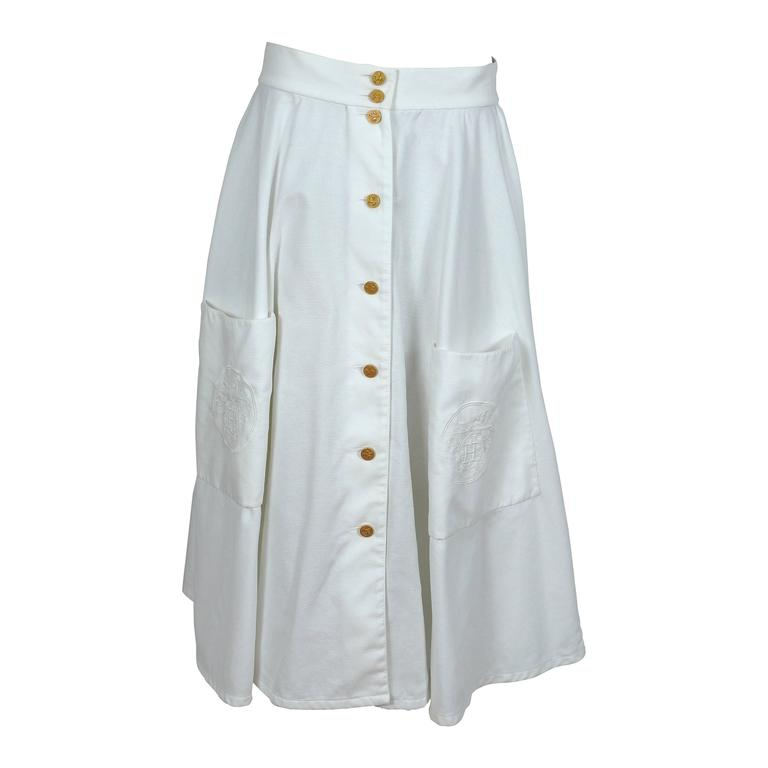 Hermes Vintage White Cotton Honeycomb Circle Skirt with Logo Embroideries