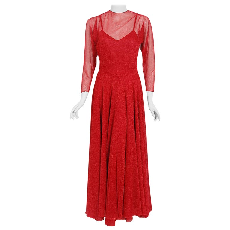 Vintage 1970's Halston Couture Red Metallic Semi Sheer Knit Long-Sleeve Dress For Sale