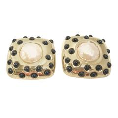Vintage Signed Givenchy Faux Pearl & Black Glass Bead Earrings