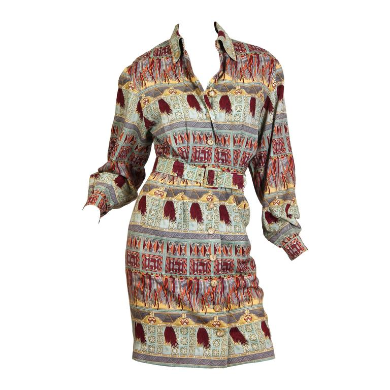 1970s Hermés Linen and Silk Dress 1