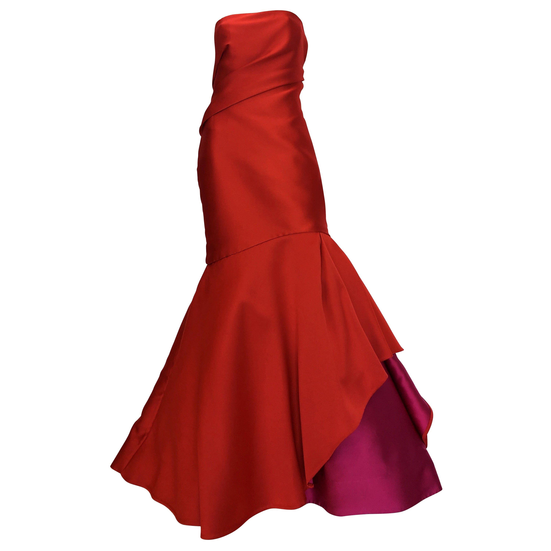 Monique Lhuillier Red Silk Gown