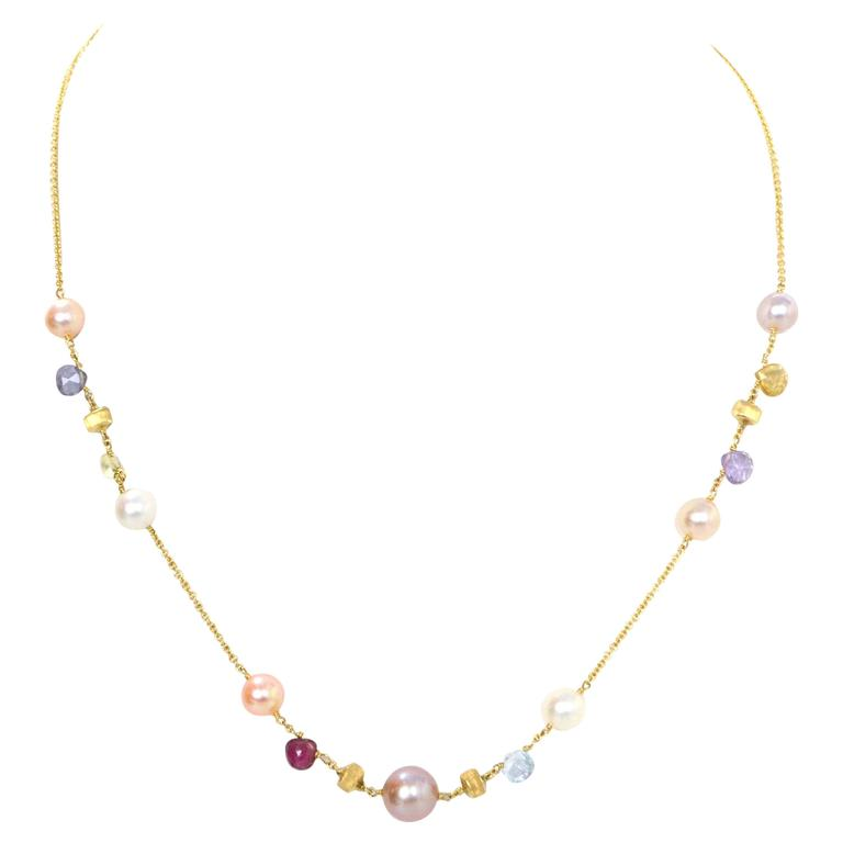 Marco Bicego Multi-Colored Stone and Pearl 18k Gold ...