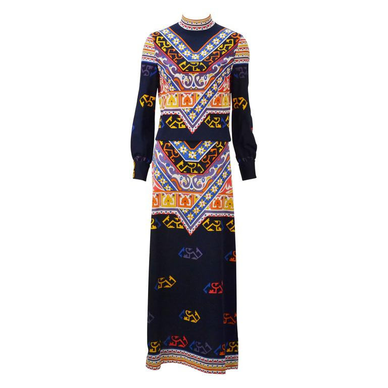 1970s Damonette of Italy Colorful Patterned Jersey Ensemble