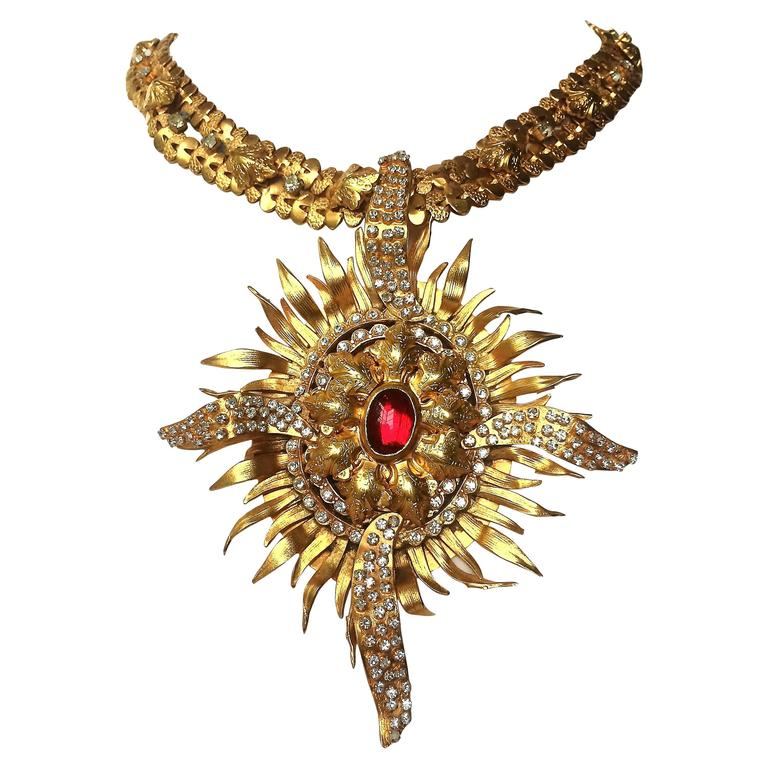 Exceptional gilt and paste starburst pendant necklace,c.1960s, attributed to CIS 1