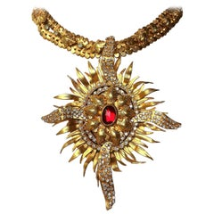 Exceptional gilt and paste starburst pendant necklace,c.1960s, attributed to CIS