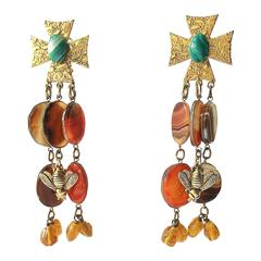 Fanciful agate and gilt metal earrings by Phillipe Ferandis