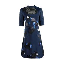 Erdem fall 2012 Runway Navy Lace Embroidered Dress