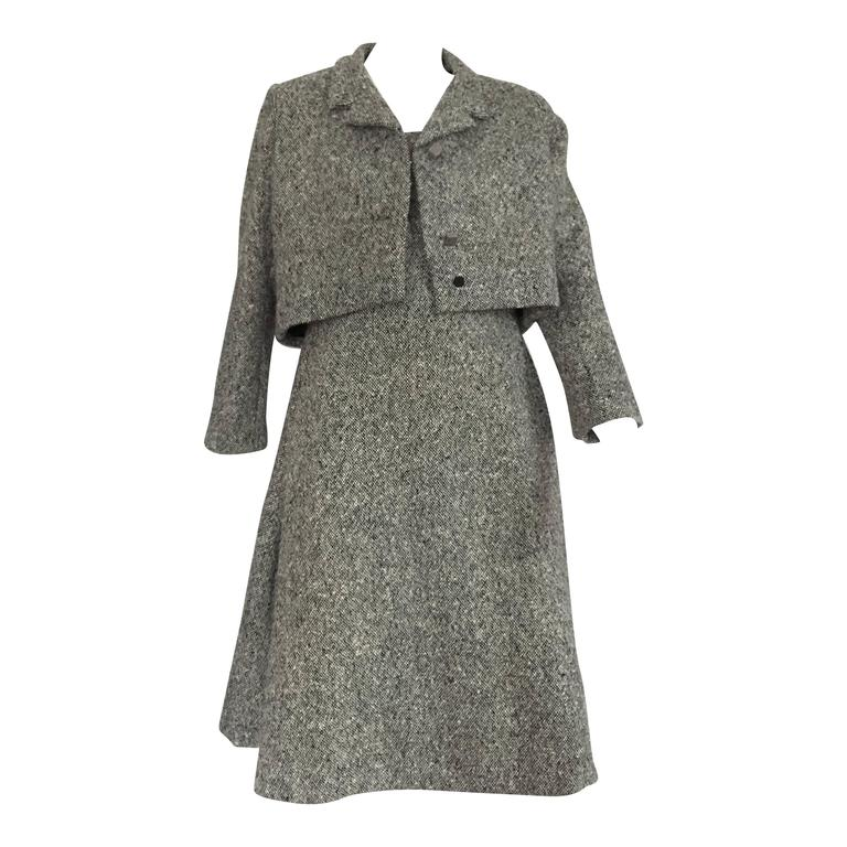 Gustave Tassell 1965 wool dress with jacket size 12 / 14.  1