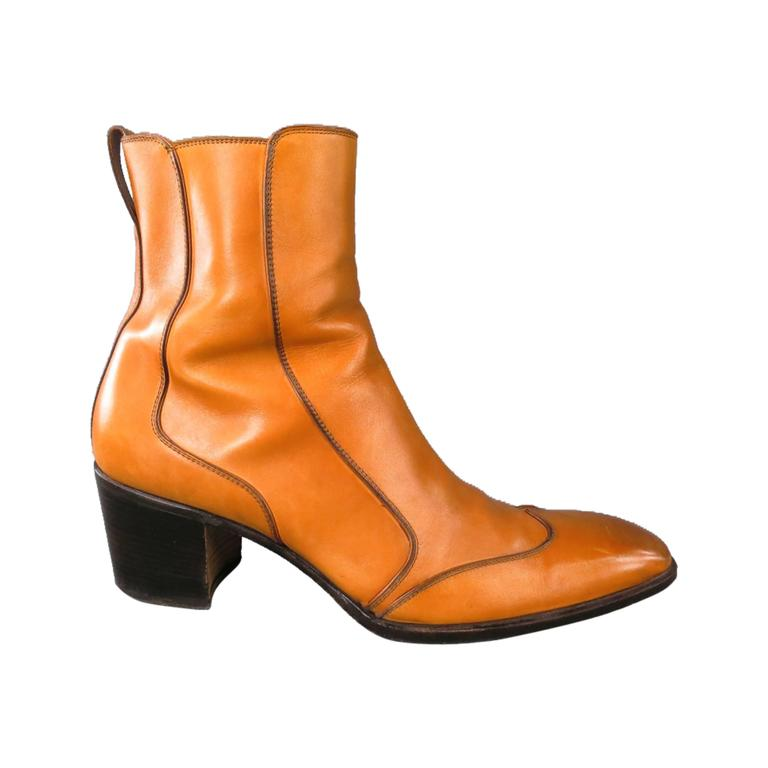 Tan Leather Johnny Boots at 1stDibs