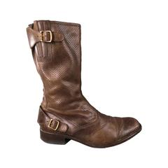 BELSTAFF Size 12 Brown Leather ROADMASTER Boots