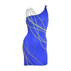 Vintage Gianni Versace Angora Trim One Shoulder Dress