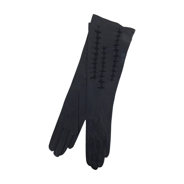 Black leather cut work gloves France 1960s 7