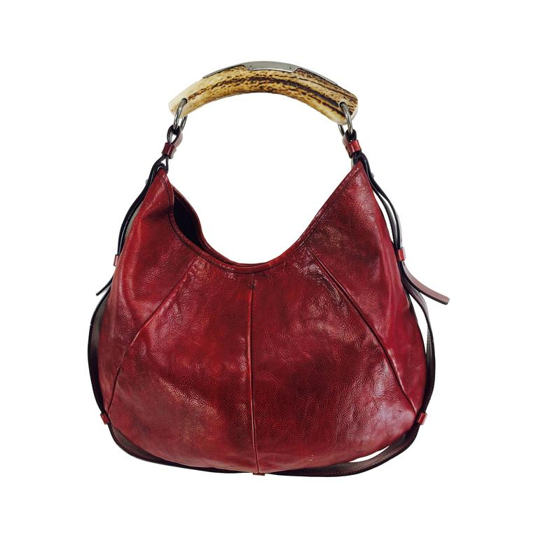 9c616aec20a Yves St Laurent Rive Gauche Mombasa horn handle bag in wine leather YSL For  Sale