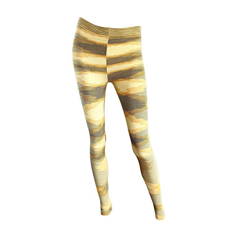 New Missoni Signature Yellow Striped Stretch Leggings / Pants