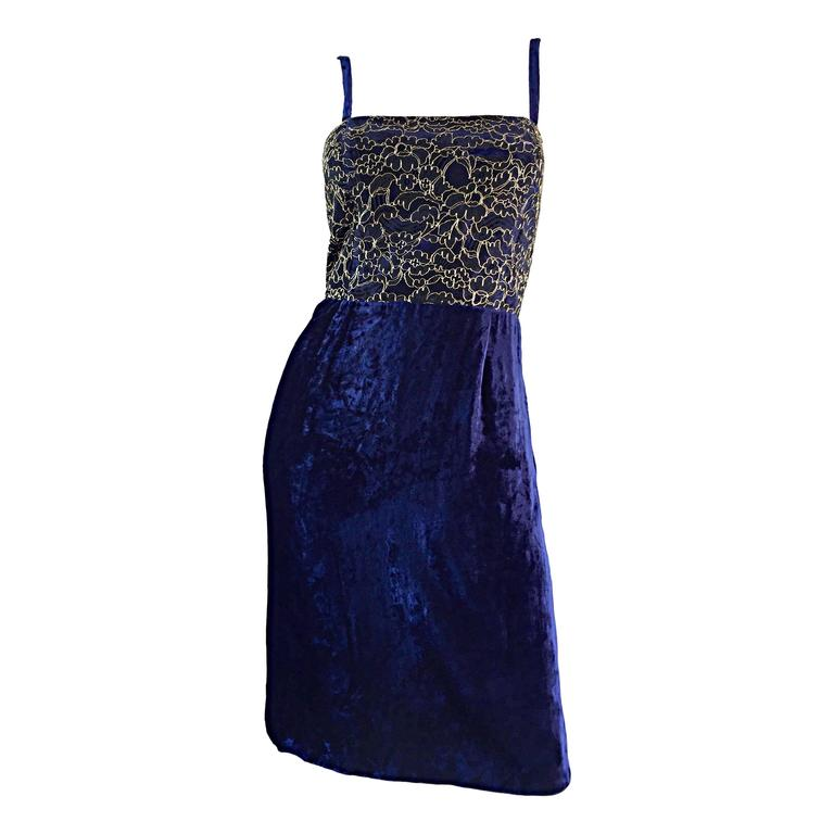 Beautiful New Luca Luca Royal Blue + Gold Velvet And Lace Cocktail Dress NWT For Sale