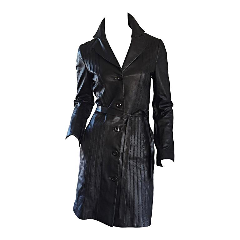 Katayone Adeli Black Leather Belted Spy Trench Jacket / Coat Dress For Sale