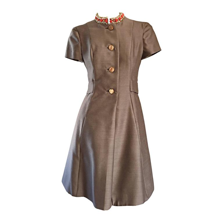 Beautiful 1960s 60s Gino Charles Beaded Raw Silk Taupe A - Line Vintage Dress