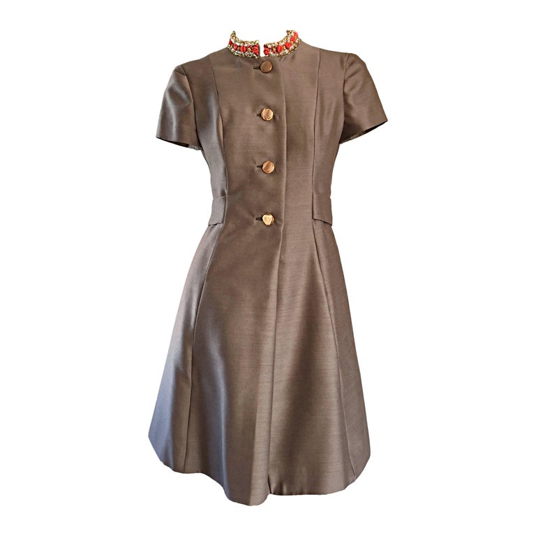 Beautiful 1960s 60s Gino Charles Beaded Raw Silk Taupe A - Line Vintage Dress  For Sale
