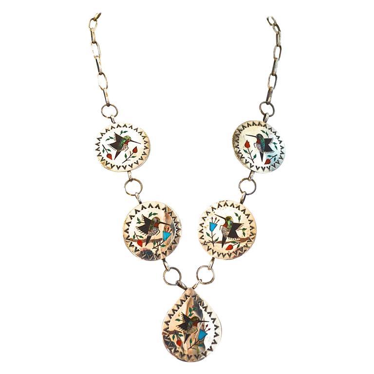 Raymond Boyd Navajo Hummingbird Necklace For Sale